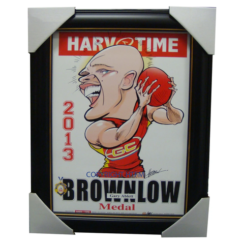 Gary Ablett Jnr. Gold Coast Suns 2013 Brownlow Medallist Harv Time Limited Edition Print Framed - 1506