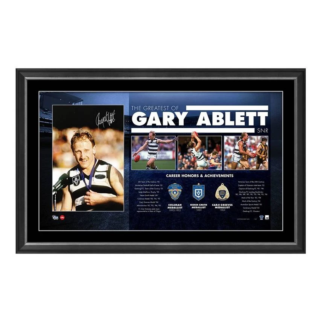 "Gary Ablett Senior Signed Official AFL Print Framed with Medallions "" The Greatest"" - 3724"