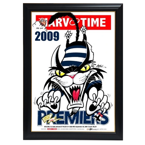 Geelong 2009 Premiers, Harv Time Print Framed - 4292
