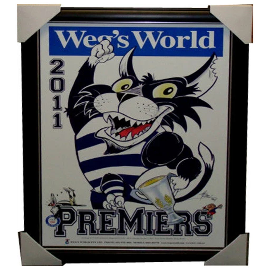 Geelong 2011 Premiers Limited Edition WEGS WORLD Print FRAMED - 3831