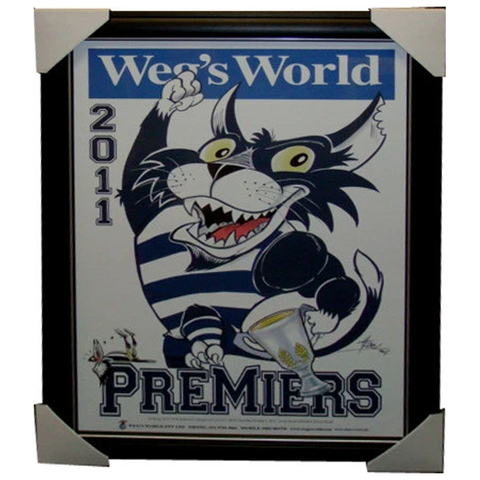 Geelong 2011 Premiers Weg's World Print Framed - 3870