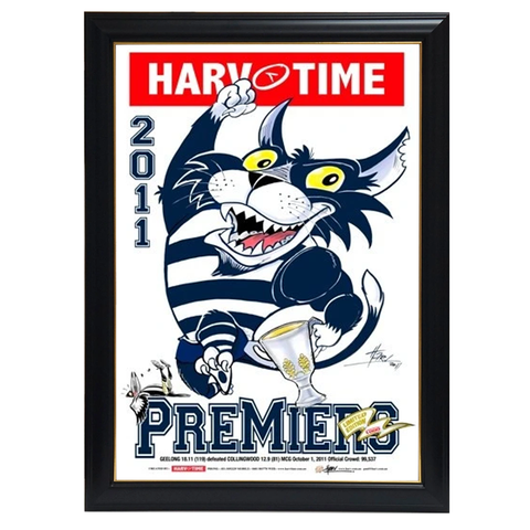 Geelong 2011 Premiers, Harv Time Print Framed - 4291