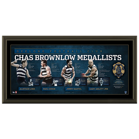Geelong Cats Signed Brownlow Litho Official Afl Frame Gary Ablett Jnr. Bartel - 2081