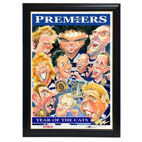 Geelong Cats, 2007 Premiers Players, Harv Time Print Framed - 4237