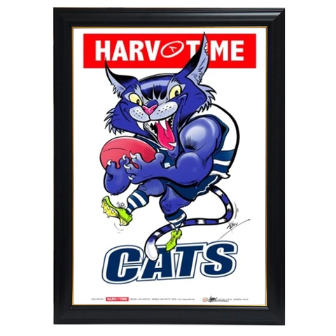 Geelong Cats, Mascot Print Harv Time Print Framed - 4174