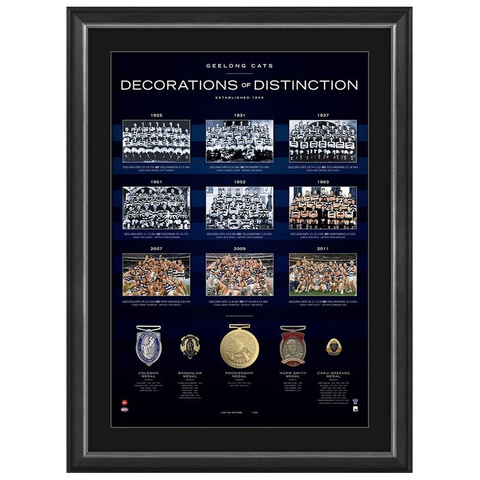 Geelong Football Club Decorations of Destinction With 5 Medals Framed - 3916 New