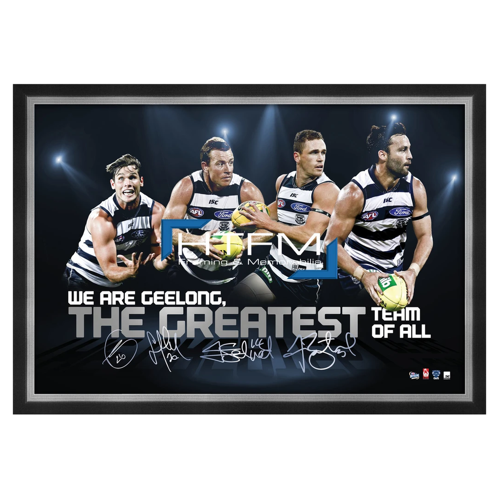 Geelong Four Player Facsimile AFL Official Licensed Print Framed Selwood Johnson - 1814