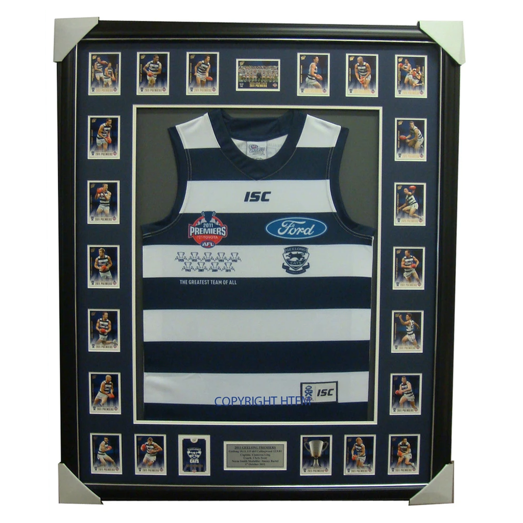 Geelong Limited Edition Premiers 2011 Jumper Framed with Select Premiers Set - 3920