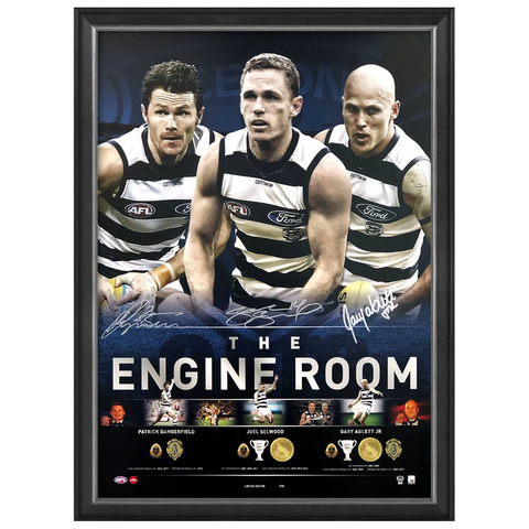 Geelong Signed the Engine Room Official Afl Print Framed Selwood Dangerfield Ablett Jnr. - 3759
