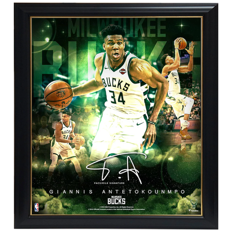 Giannis Antetokounmpo Milwaukee Bucks  Facsimile Signed Official NBA Print Framed - 3956