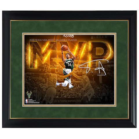 Giannis Antetokounmpo Milwaukee Bucks 2019 NBA MVP Spotlight Photograph Facsimile Signatures Official NBA Print Framed - 4348