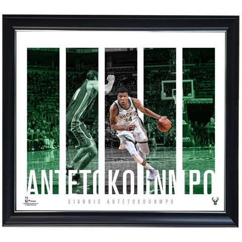 Giannis Antetokounmpo Milwaukee Bucks Player Panel Collage Official NBA Print Framed - 4424