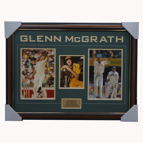 Glenn McGrath Signed Australia Cricket Photo Collage Framed - 4536