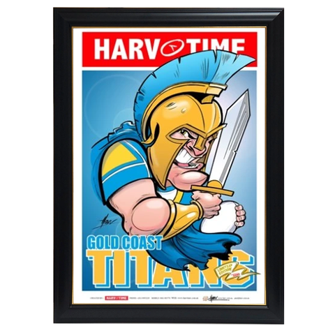 Gold Coast Titans, NRL Mascot Harv Time Print Framed - 4205