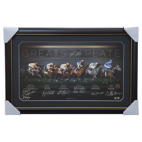 Greats of the Cox Plate - Cox Plate Champions Signed Lithograph Frame Winx Childs Bowman Johnston - 2980