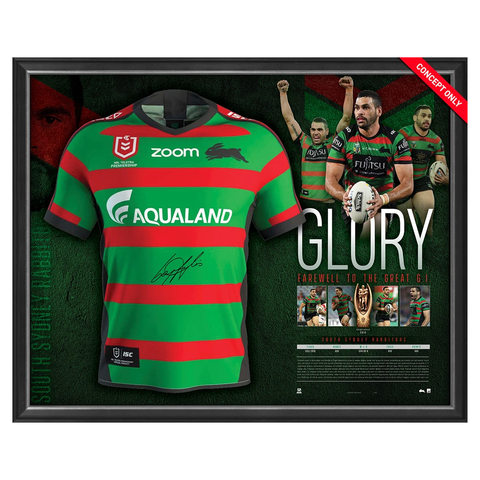 Greg Inglis Signed Nrl South Sydney Rabbitohs Glory Retirement Official Jersey Framed - 3669