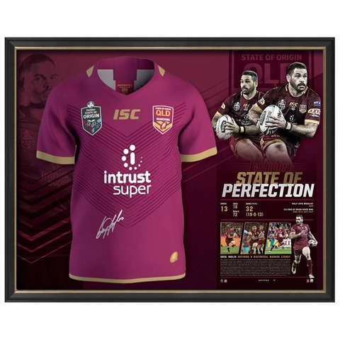 Greg Inglis Signed Queensland Maroons Official State of Origin Retirement Jersey Framed - 3672