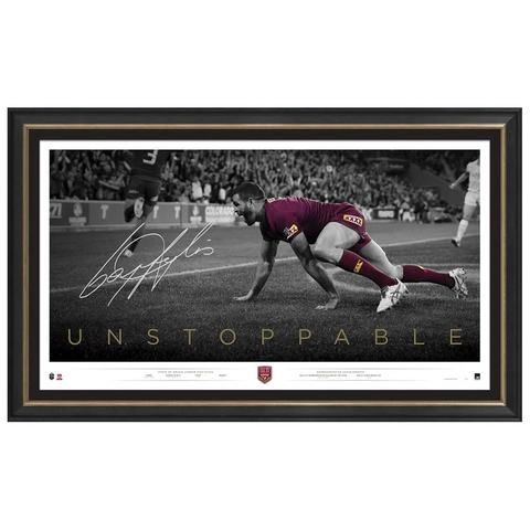 Greg Inglis Signed Queensland State of Origin Unstoppable Retirement Official Print Framed - 3668