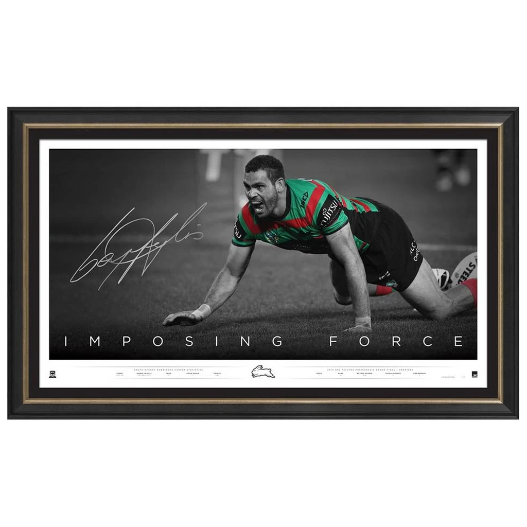 Greg Inglis Signed South Sydney Rabbitohs Imposing Force Retirement Official Print Framed - 3667