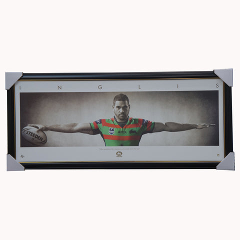 "Greg Inglis ""WINGS"" South Sydney Rabbitohs Licensed NRL Print Framed - 3918"