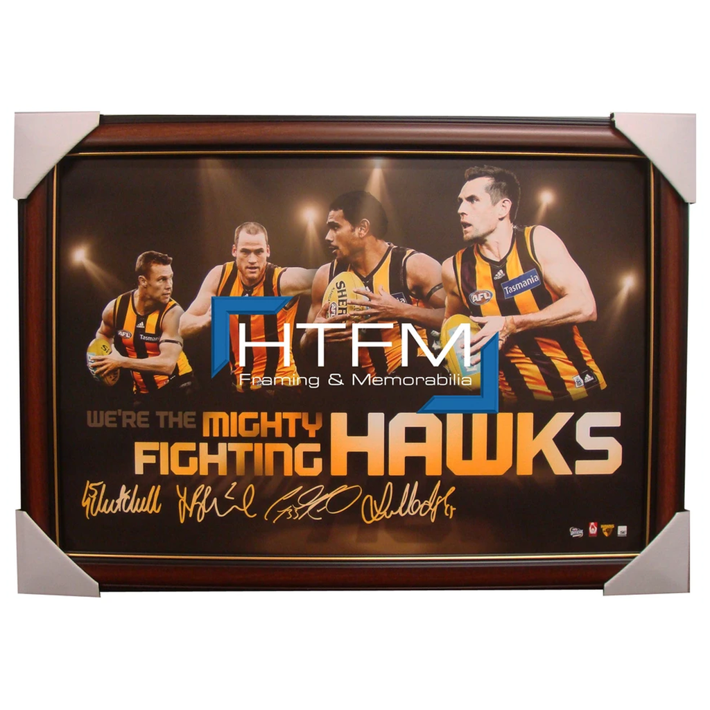Hawthorn Four Player Facsimile Afl Official Licensed Print Framed Hodge Mitchell - 1725