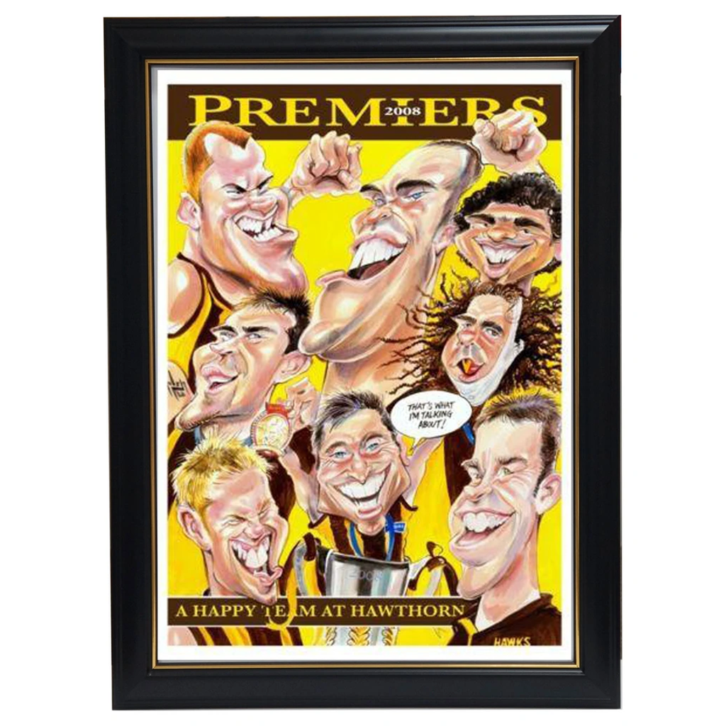 Hawthorn 2008 Afl Premiers Harv Time Limited Edition Print Framed - 3609