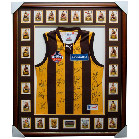 Hawthorn 2008 L/E Premiers Home Jumper Signed Framed with Premiers Cards -  1304 LAST ONE