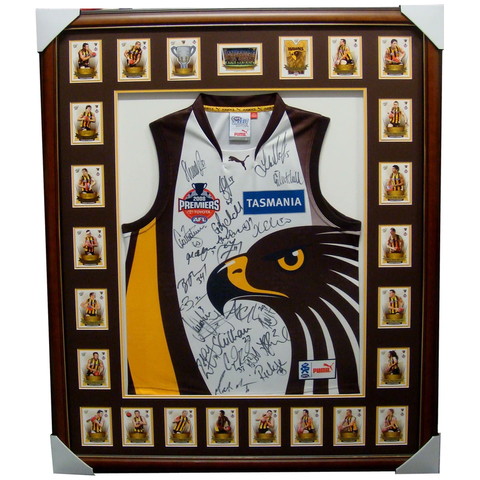 Hawthorn 2008 L/E Premiers Jumper Signed Framed with Cards -  3515