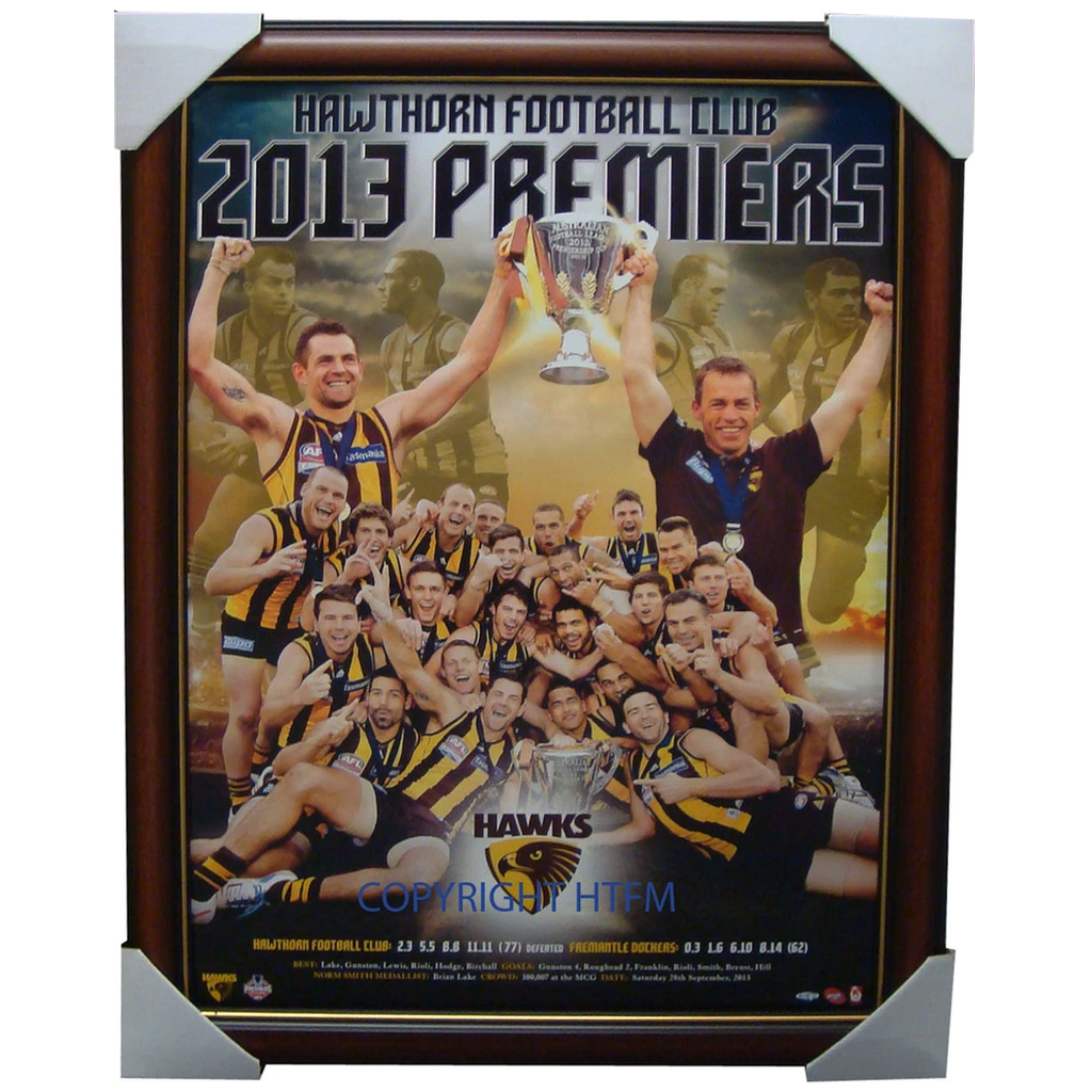 Hawthorn 2013 Official AFL Premiership Montage Framed  Hodge Mitchell - 1552