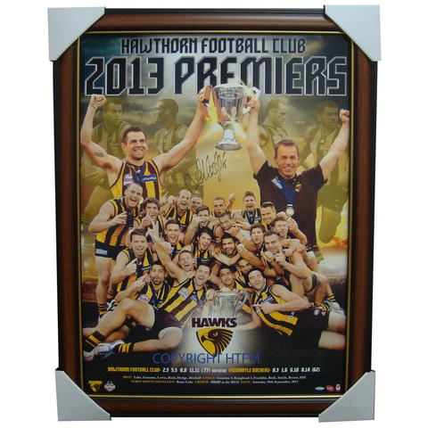 Hawthorn 2013 Official AFL Premiership Montage Framed Signed By Captain Luke Hodge - 1674