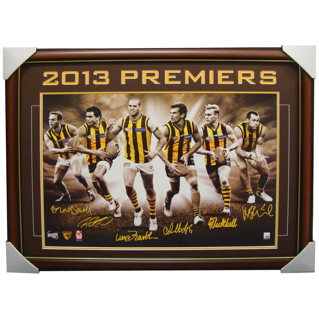 Hawthorn 2013 Premiers 6 Player Signed Facsimile Print Deluxe Framed - 1538