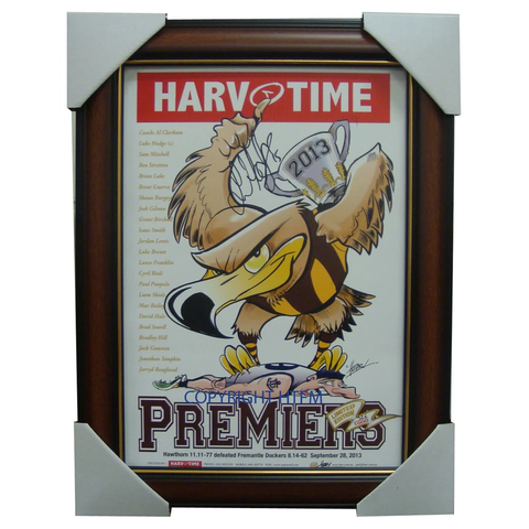 Hawthorn 2013 Premiers AFL Harv Time Limited Edition Print Framed Signed Luke Hodge - 1675