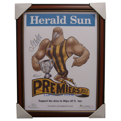 Hawthorn 2013 Premiers AFL OFFICIAL Mark Knights Print Framed Signed Luke Hodge - 1673
