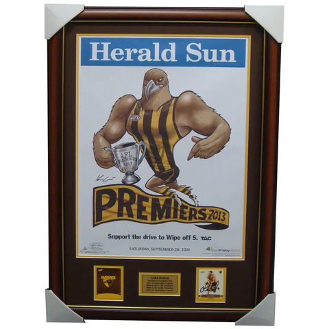 Hawthorn 2013 Premiers AFL OFFICIAL Mark Knights Print Framed Signed Luke Hodge Card - 1539