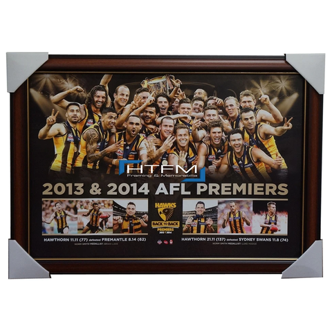 Hawthorn 2013 & 2014 Back to Back Premiers Print Framed Luke Hodge - 2021