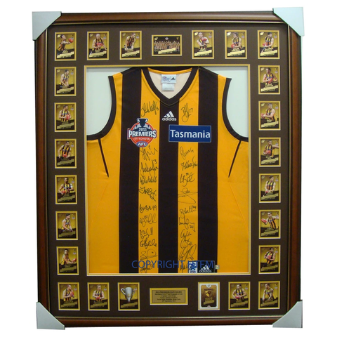 Hawthorn 2014 AFL Official Premiers Jumper Signed with L/E Card Set Framed - 1969
