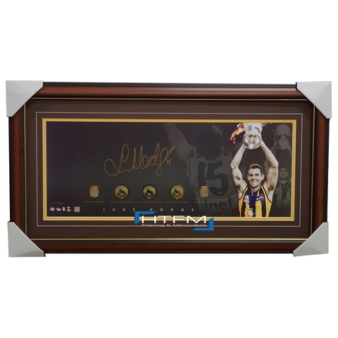 Hawthorn 2014 Premiership AFL Panograph Signed by Luke Hodge With Replica Medals - 1971