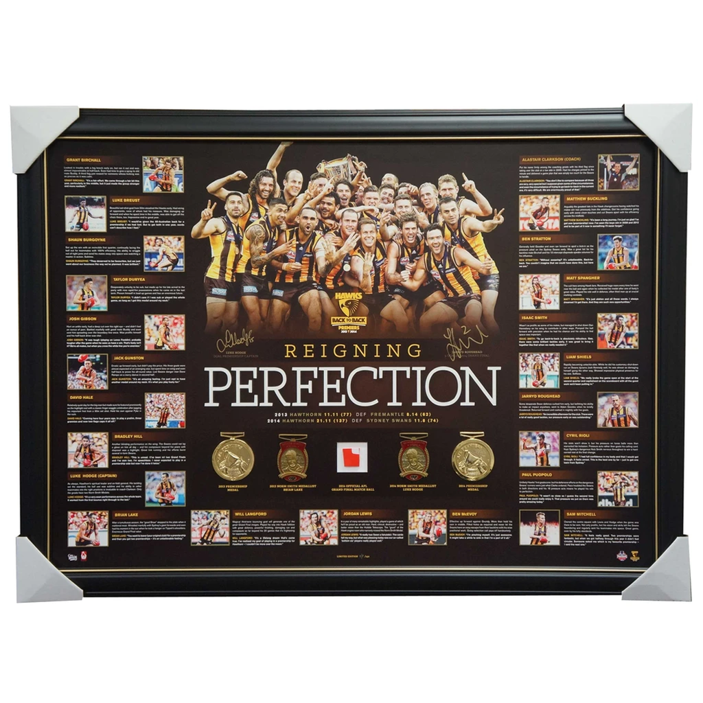 Hawthorn 2014 Premiership Perfection Dual Signed Lithograph Hodge Roughead Frame - 1964
