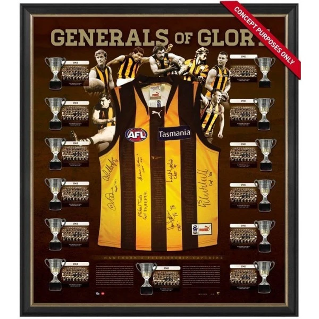 Hawthorn Generals of Glory Premiership Captains Signed Jumper Framed - 2620