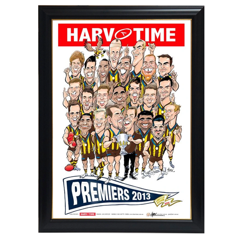 Hawthorn Hawks, Players, 2013 Premiers, Harv Time Print Framed - 4083