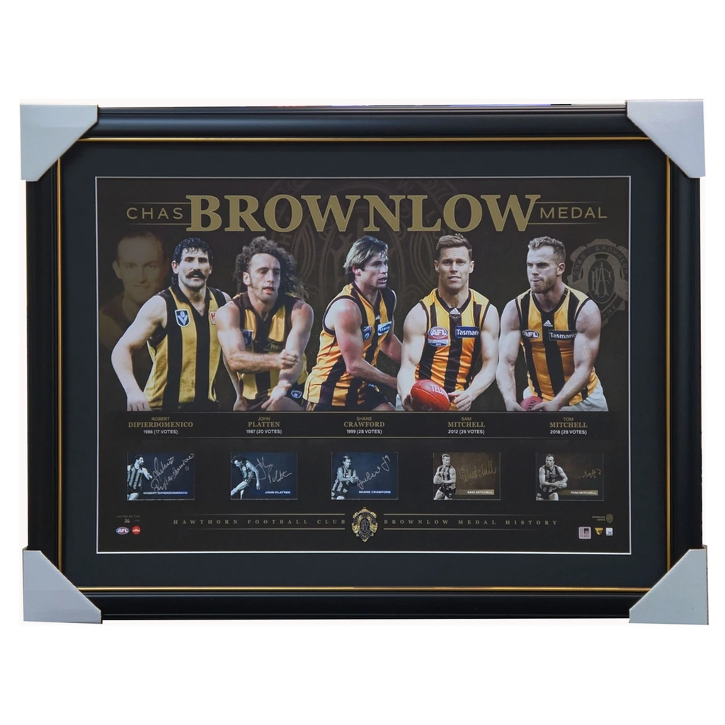 Hawthorn Signed Official AFL Brownlow Lithograph Framed x 5 Signatures NEW - 3580