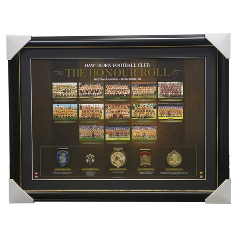 Hawthorns Vfl/afl Premiers Honour Roll With Medallions Print Framed 3-peat Hodge - 3011