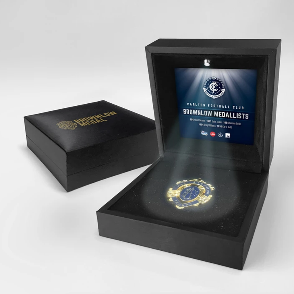 History of Chas Brownlow Carlton Official Afl Replica Medal in Black Led Box Judd - 2053