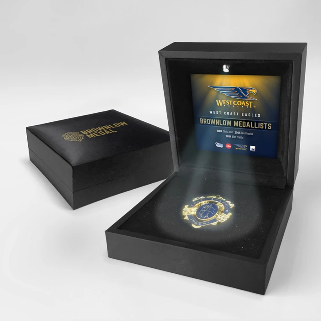 History of Chas Brownlow West Coast Eagles Official Afl Medal in Black Led Box Judd - 2048