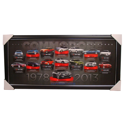 Holden History of the Holden Commodore 1978 - 2013 Limited Edition Print Framed - 1602