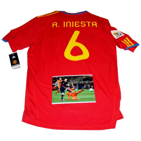 Iniesta Spain 2010 World Cup Champions Signed Jersey - 2789