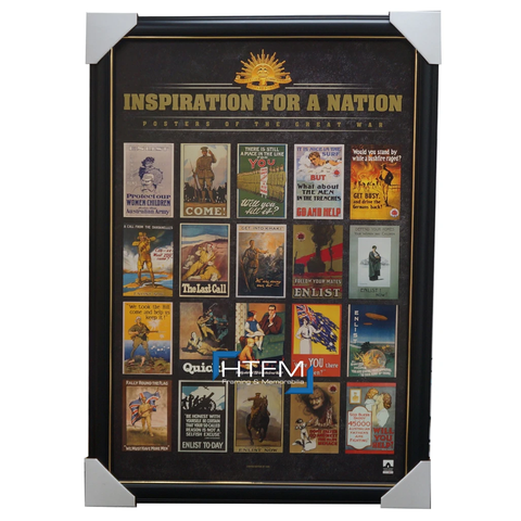 Inspiration of a Nation WAR Print Framed WW1 100 Years of Gallipoli Landing - 3240
