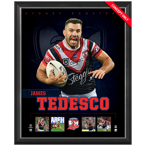 James Tedesco Sydney Rooster Official Nrl Player Print Framed New - 4374