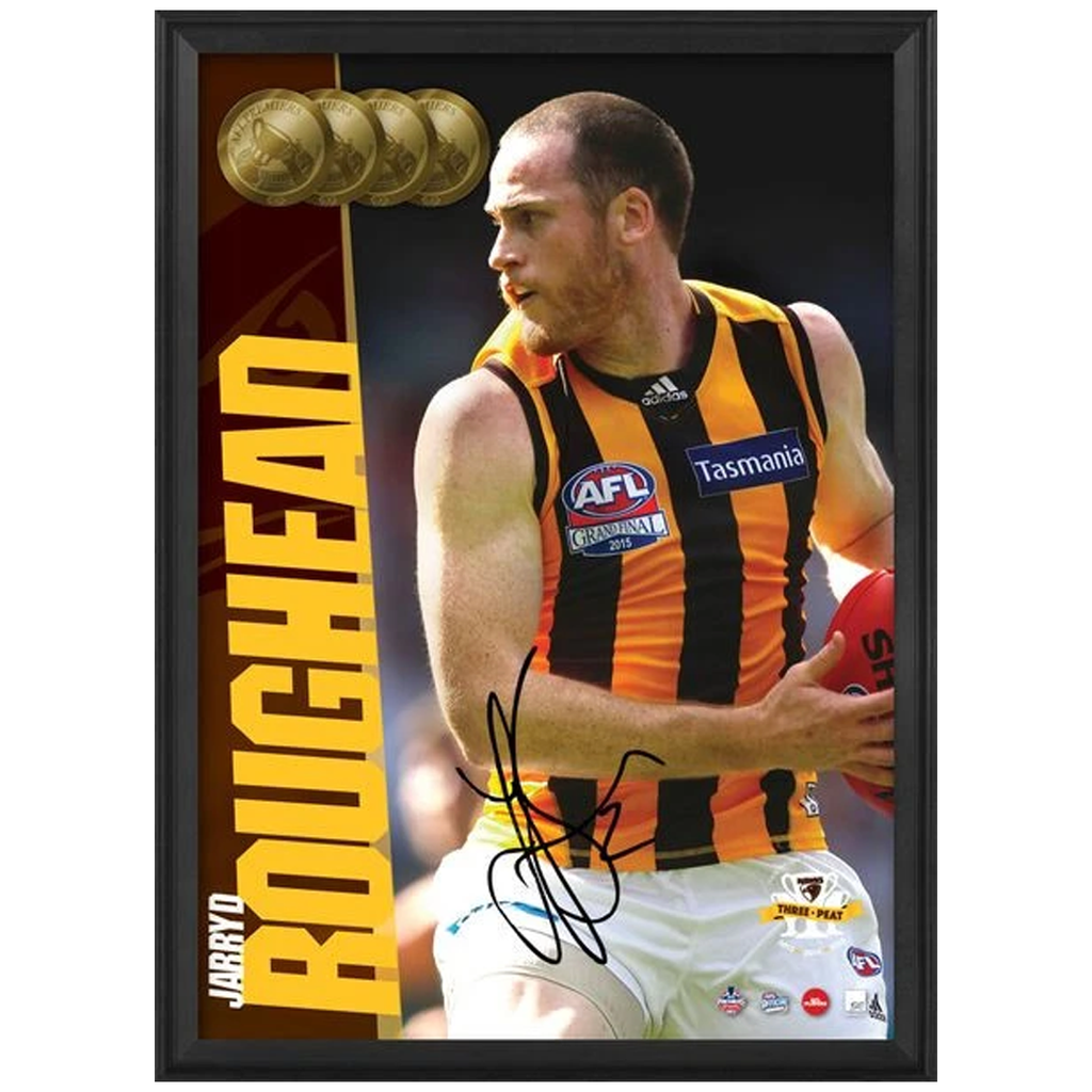 Jarryd Roughead Signed 2015 Premiers Hawthorn Afl Official Photo Framed Aflpa - 2579