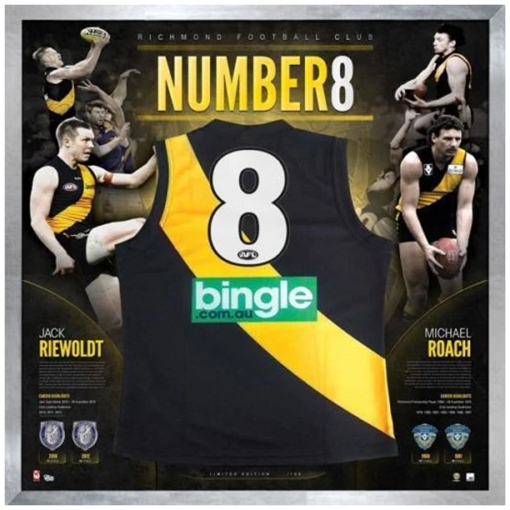 Jack Riewoldt & Michael Roach Signed No.8 Richmond Official Afl Jumper Framed - 3676
